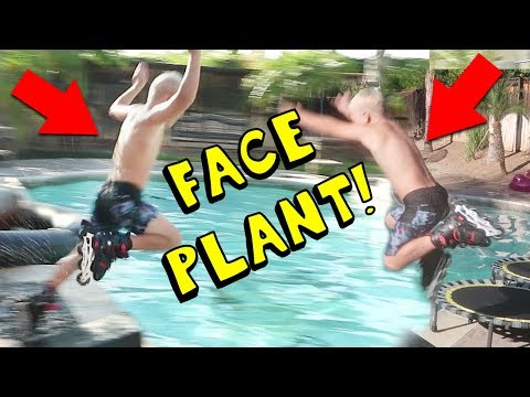 8 YEAR OLD KID DOING EXTREME SPORTS AND JUMPS INTO POOL