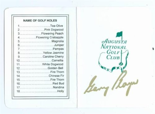 Autographed Scorecard Augusta National Masters